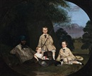 Robert Dowling, Masters George, William and Miss Harriet Ware with the Aborigine Jamie Ware