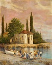 Ioannis Koutsis, On the beach, Spetses (+ Outside the church; 2 works)