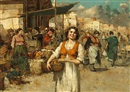 Giuseppe Pitto, A market scene with a woman holding a basket in the foreground (+ other; pair)