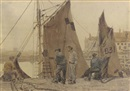 Vernon Ward, Fishermen tending their nets in the harbour
