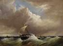 Thomas H. Hair, Untitled - Seascape with single-mast fishing vessel