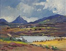 Anne Primrose Jury, Little Errigal in distance, harvest time, County Donegal
