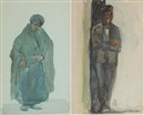 Michael Healy, Dubliners - Old woman in shawl (+ Man in a cap leaning in a doorway; pair)
