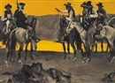 John Gannam, Two groups of cowboys squaring off at water's edge (illus. for Collier's)