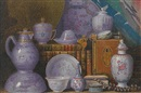 Benjamin Walter Spiers, A still life of Chinese porcelain and books