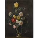 Circle Of Jean-Michel Picart, A still life with roses and various other flowers in a vase