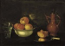 Cornelis Jacobsz. Delff, Apples and grapes in a porcelain bowl, a bread roll on a pewter plate, a glass of water and a jug