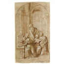 Benvenuto Tisi da Garofalo, A bishop seated with his left hand on a book, two young men kneeling nearby and a third standing behind, in an architectural setting