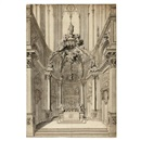 Attributed To Gilles-Marie Oppenort, Study of the Chapel of St. Vitale in the Church of St. Gervais, Paris