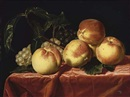Attributed To Paul Liegeois, Peaches and grapes on a draped table