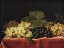 Attributed To Paul Liegeois, Red and white grapes on a draped table
