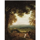 George Hilditch, An extensive landscape with figures in the foreground