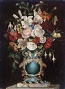 Martha Darley Mutrie, Summer flowers in an ornate vase decorated with cherubs