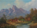 Gabriel Cornelis de Jonge, View in the Jonkers Hoek Mountains, Stellenbosch