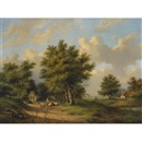 Gerardus Hendriks, A summer landscape with a shepherdess on a country road