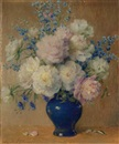 Carle John Blenner, Still life with peonies, delphinium and aster