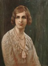 R. H. Campbell, Portrait of a young woman, half-length, wearing pearls
