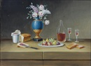 Paul Lelong, Still life with flowers, fruit, wine and bread (+ 5 others; set of 6)