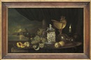 Gyula Andreas Bubárnik, Peaches on a silver platter, with a römer, grapes, lemon, a moonlit seascape beyond