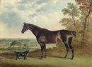 George Jackson, A dark brown horse and a spaniel in a landscape