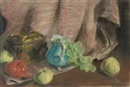 Alfred Alfredovich Girv, A blue jug, grapes, apples and a tea caddy on a draped table