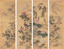 Lin Lingxu, 花鸟 (Flowers and birds in four seasons) (4 works)