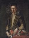 Circle Of Sofonisba Anguissola, Portrait of a girl in a black and gold embroidered dress with a lace collar, a book in her left hand, a handkerchief in her right