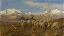Achille Tominetti, A herder and flock grazing in the Alps