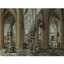Frans Francken and Pieter Neefs the Elder, A church interior with elegant figures strolling and figures attending mass