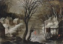Frans de Momper, A winter landscape with figures skating and a town beyond