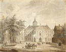 Reinier Vinkeles, A neoclassical building on a square (after Jan van der Heijden)
