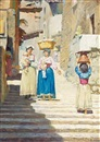 Cilius (Johannes Konrad) Andersen, An Italian town scenery with women and children