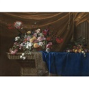 After Jean-Michel Picart, A still life of a basket of flowers and a mound of fruit on a sculpted stone table, partly covered with a blue velvet, gold-and-silver-fringed cloth with drapery and a stone column in the background
