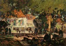 John Wesley Cotton, Figures and covered ox cart in a village scene