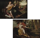Circle Of Jacob de Backer, A woman playing the luit (+ A woman with a parrot; 2 works)