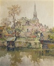 H. Florit, View of a church by the river in springtime