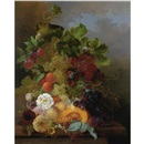 Jan van der Waarden, Still life of fruit with dahlias and roses
