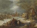 Frans de Momper, A winter landscape with the flight into Egypt