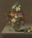 Bartholomeus Assteyn, Roses, tulips, lilies and other flowers in a glass vase on a stone ledge