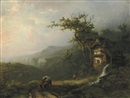 Alexander Joseph Daiwaille, A watermill above an extensive valley