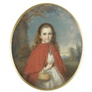 Reginald Easton, Portrait of a young girl in a red cape, holding a basket with flowers on her arm