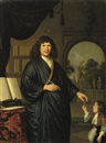Pieter Cornelisz van Slingeland, Portrait of a gentleman, in a Japansche rok, standing in a library, giving a messenger a letter