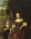 Pieter Cornelisz van Slingeland, Portrait of a lady, in a brown dress and pearl necklace, seated by a table, a girl by her side holding a flower