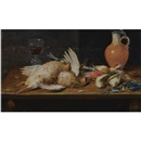 Alexander Adriaenssen, A still life with a robin, a kingfisher, partridges and songbirds, all on a wooden table, together with a glass and an earthenware jug