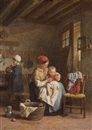 Théophile Emmanuel Duverger, Family in a sunlit kitchen