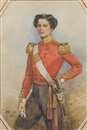 François Théodore Rochard, An Officer of the 96th Regiment of Foot, wearing double-breasted red coatee with gold epaulettes and collar, white cuffs, black breeches, crimson sash tied at his waist, white cross belt