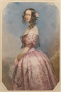 François Théodore Rochard, A lady, wearing pink dress, the bodice and skirt lavishly trimmed with flounces of black lace, pink rose corsage and gold bracelet around her left wrist