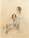 François Théodore Rochard, Mrs Ripon (née Margaret Augusta Elwes), seated and Miss Frances Justina Elwes standing behind
