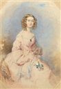 François Théodore Rochard, Mrs Musson, wearing pink dress with puffed imbecile sleeves, large gold brooch set with a green stone at her breast, fine gold necklace falling to her waist