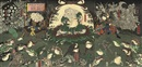 Utagawa Yoshitora, Gama Sennin in front of a giant toad (triptych; + 11 others; 12 works)
